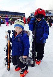 boys skiing in les gets